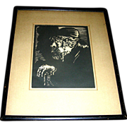Vintage Wood print, late 19th or early 20th c., Old Man and Cane