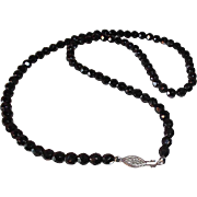 Elegant Black Faceted Glass French Jet Beaded Necklace