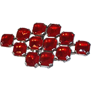 Vintage Belt Buckle with Red Glass Stones