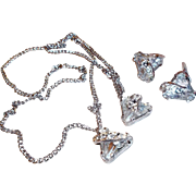 Vintage Eisenberg Crystal Clear Triangular Rhinestone Sweet Prom Set  ~TLC~
