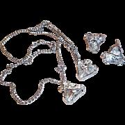 Vintage Eisenberg Crystal Clear Triangular Rhinestone Sweet Prom Set  ~TLC~