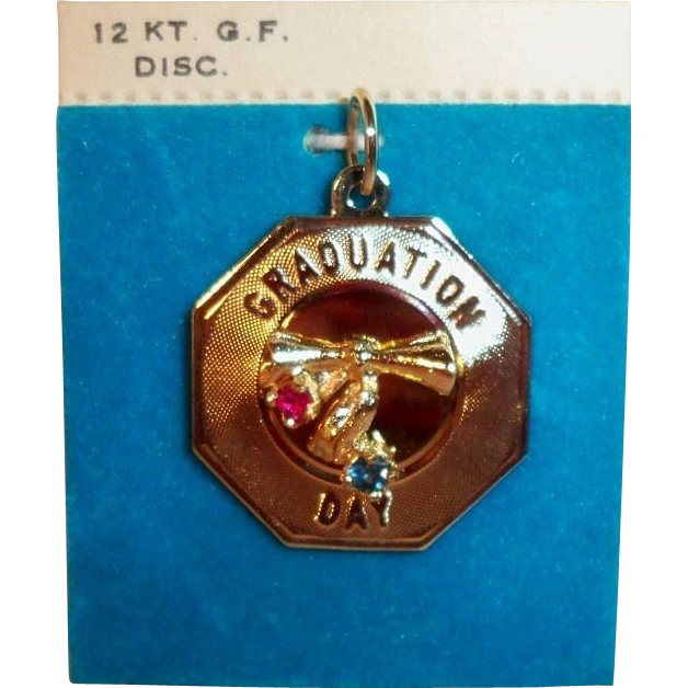 Vintage 12K GF Pendant or Charm with Genuine Stones, Graduation Day, by Crea d'Or