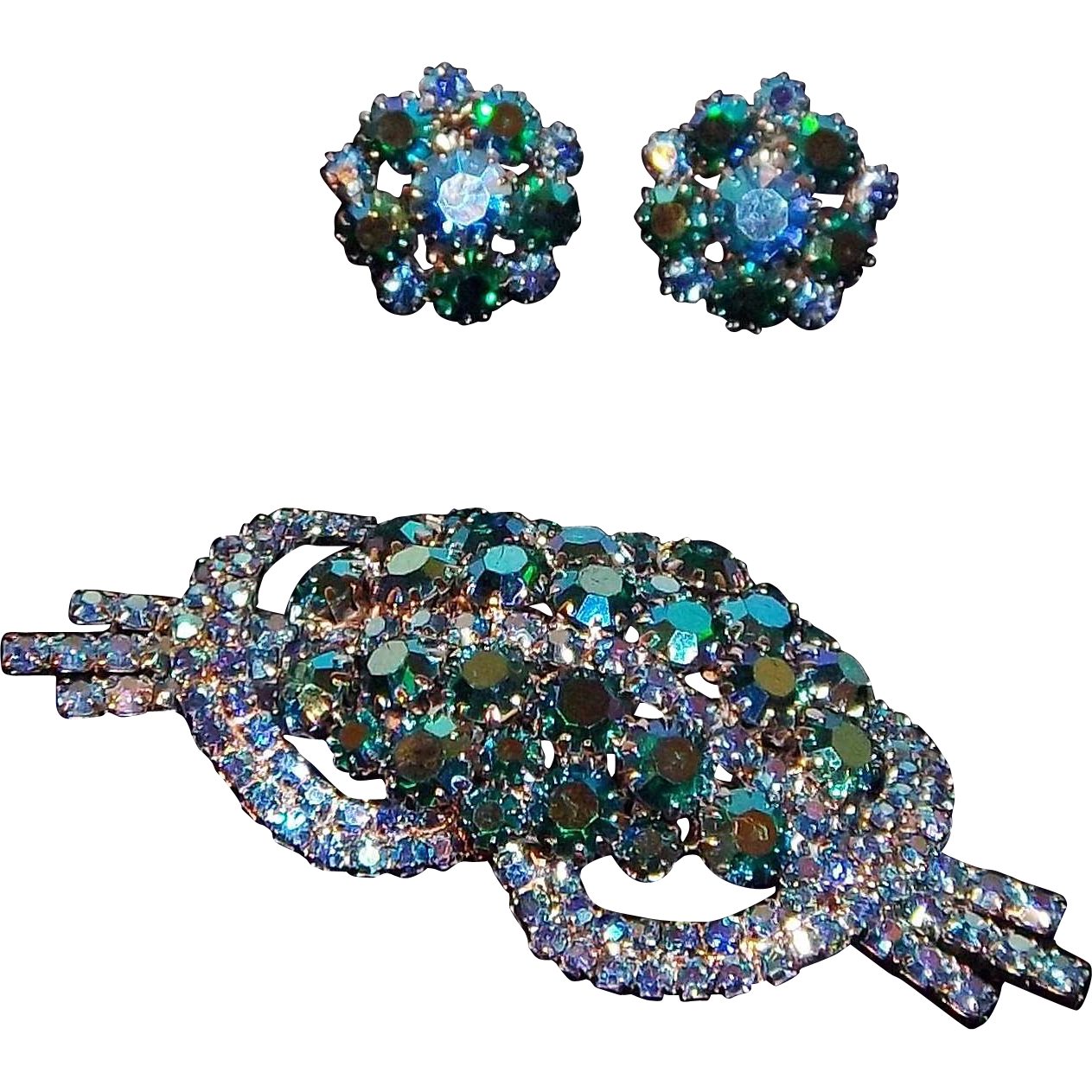 Retro Modern Brooch and Matching Clip Earrings with Blue AB Crystal Rhinestones, 1940s