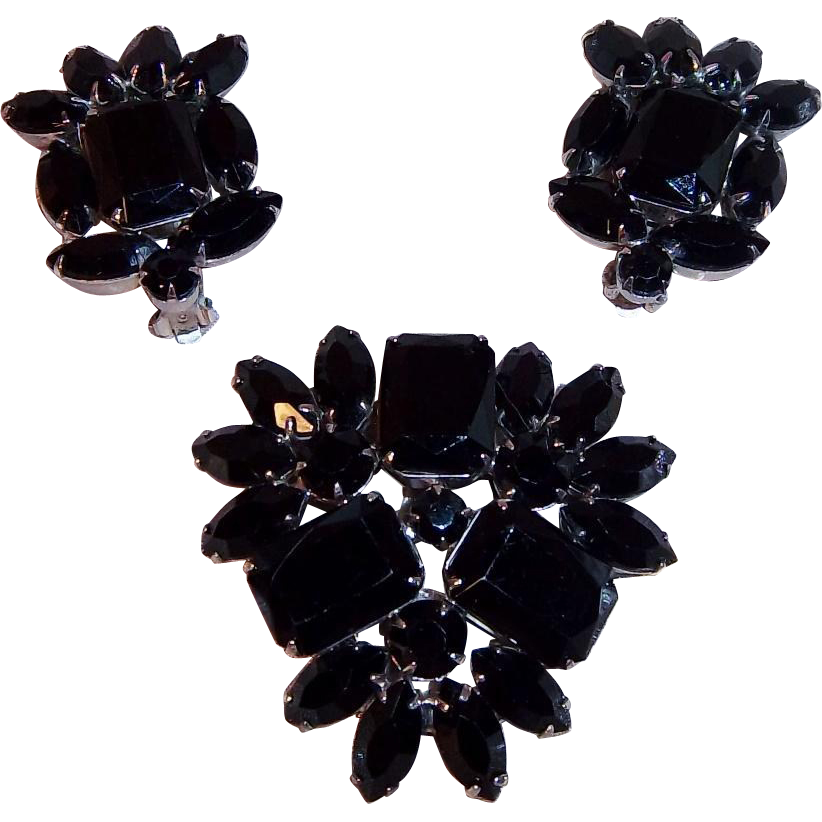 Dramatic Vintage Brooch and Matching Clip Earrings with Black Glass Stones