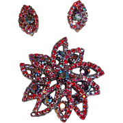 Dimensional Red Aurora Borealis Rhinestones & Crystals  Brooch &  Clip Earrings Set