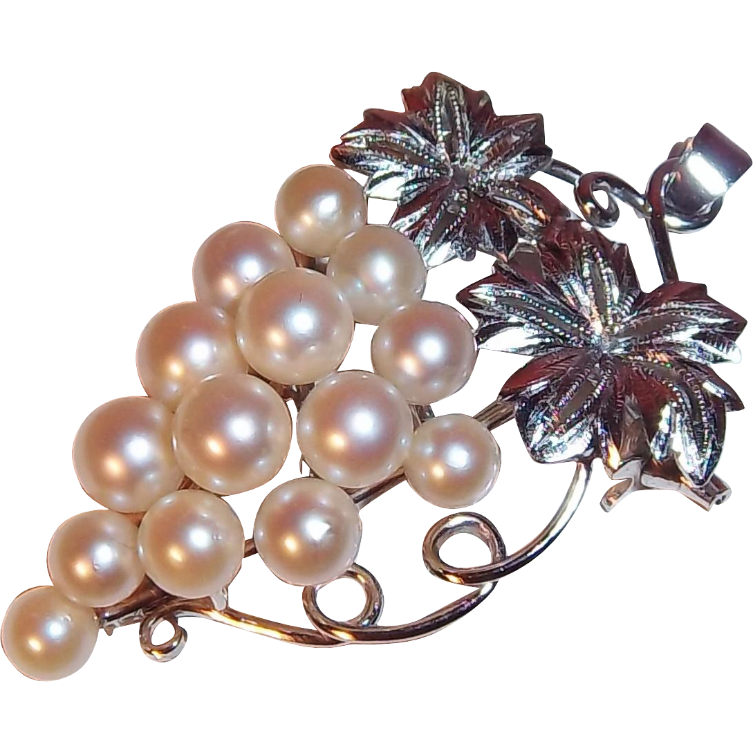Elegant Cultured Pearls 3-D Grape Cluster Brooch- Pendant, 900 Silver, Japan circa 1970's
