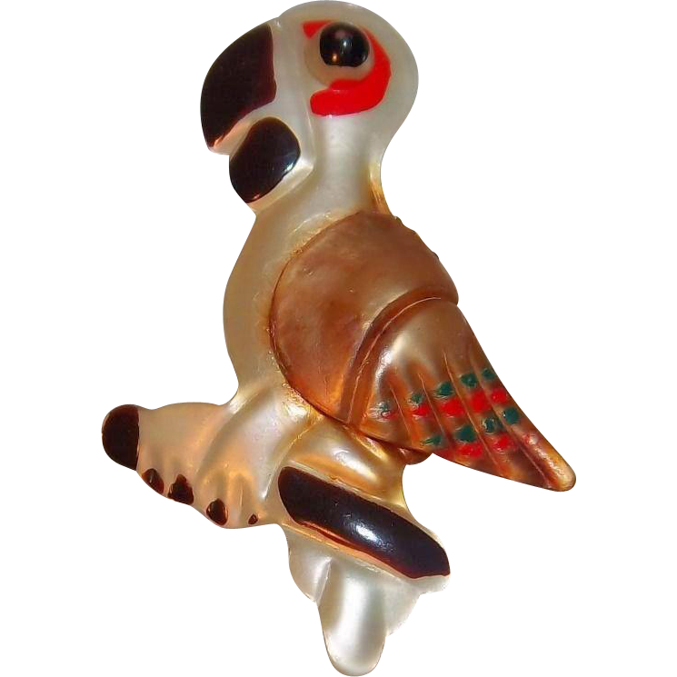Fun Figural  Multi Colored Nylon Plastic Parrot Bird Brooch circa 1950's