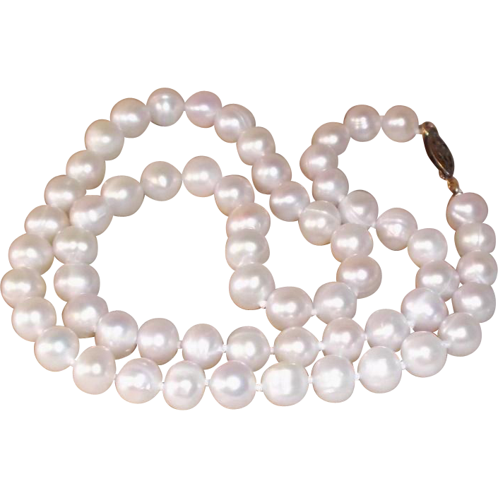 "Classic Cultured Pearl Single Strand Necklace Gold-Filled Clasp 18"" long , 7mm"