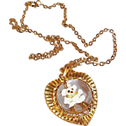 Vintage Heart Shaped Domed Lucite Enameled Teddy Bear Pendant Necklace Signed Gold Crown Inc
