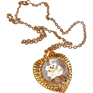 Adorable Domed Lucite & Enameled Teddy Bear Heart Pendant Necklace  Gold Crown Inc.