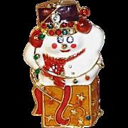 Christopher Radko Enameled Snowman in a Box Pin