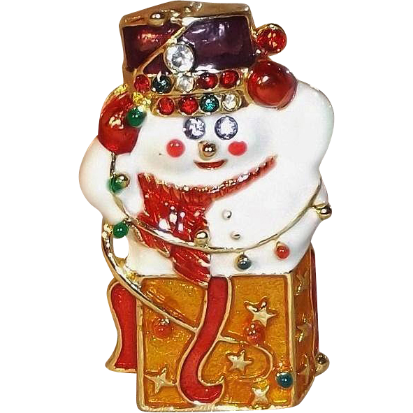 Christopher Radko Enameled Snowman in a Box Pin