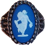 Blue Jasperware Wedgwood Sterling Silver Cameo Ring Circa 1950's size 6