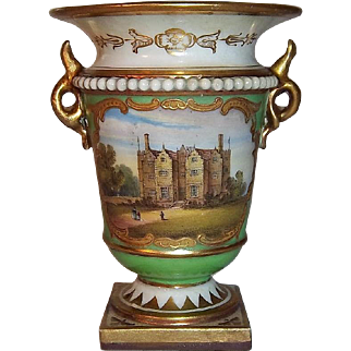 SALE Majestic Royal Worcester Porcelain Flight, Barr, & Barr Small Cabinet Cup with Chastleton House Painting, Baxter Era
