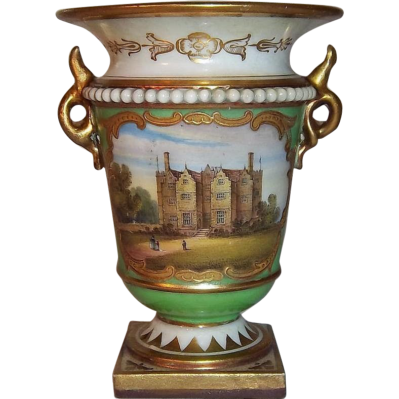Majestic Royal Worcester Porcelain Flight, Barr, & Barr Small Cabinet Cup with Chastleton House Painting, Baxter Era