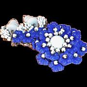 Miriam Haskell Navy Blue & White Glass Beaded Flower Brooch  Circa 1950's