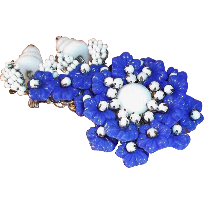 Miriam Haskell Navy Blue & White Glass Beaded Flower Brooch  Circa 1950's