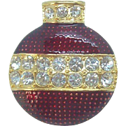 Eisenberg Ice Glossy Red Enameled Rhinestone Christmas Ornament Brooch