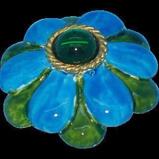 Original by Robert Blue & Green 3-D Enameled Flower Brooch Circa 1960's