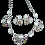 Selro Pastel Satin Glass & Rhinestones Necklace & Earring Set