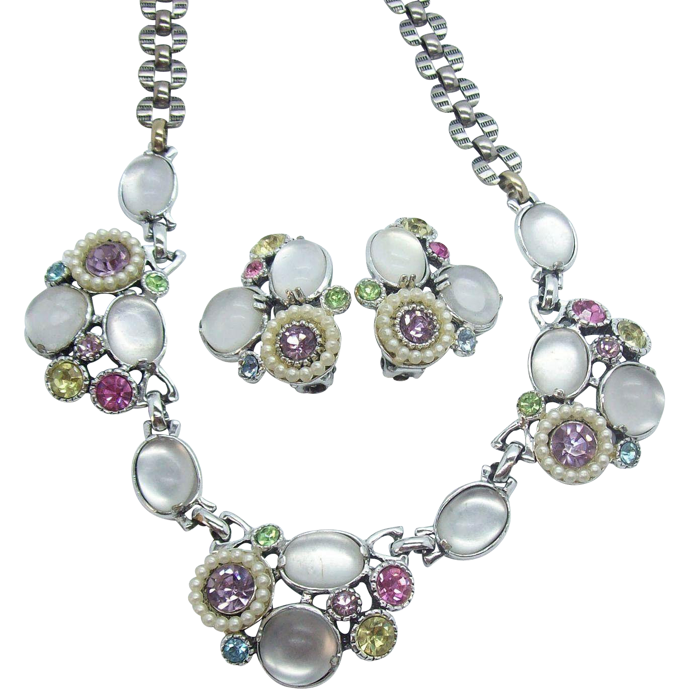 Selro Pastel Satin Glass & Rhinestones Necklace & Earring Set