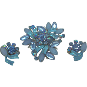 Powder Blue & Blue Ice Rhinestone Brooch & Earring Set  Circa 1950's