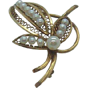 Winard 12K Gold Filled Flower Brooch with Genuine Pearls