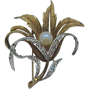 3-Dimensional Layered Sterling Silver Flower Brooch with Crystal Accents & Imitation Pearl