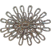 Trifari 3-Dimensional Layered Flower Brooch Textured Silvertone Metal