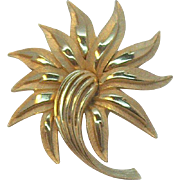 Trifari Abstract Stylized Flower Brooch with Shiny & Textured Goldtone Metal
