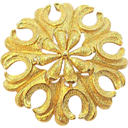 Trifari Charming Flower Brooch with Textured Goldtone Metal