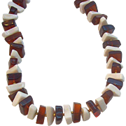 Trifari Translucent Rootbeer Brown & White Lucite Beaded Necklace