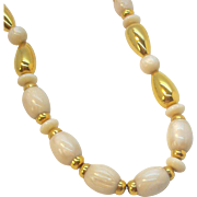 Napier Marbelized Oval Shaped Creme Colored Lucite Beads With Goldtone Metal Spacer Beads