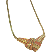 Trifari Pink & Creme Striped Enameled Goldtone Metal Necklace