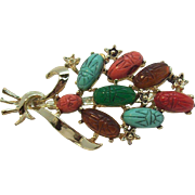Multi Colored Scarabs Cabochon Brooch