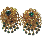 Goldtone Metal Layered Drippy Green Rhinestone Dangle Earrings