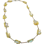 Interesting Irregular Shaped Mother of Pearl Beaded Necklace