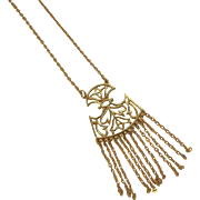 Trifari Goldtone Metal Fringed Dangle Pendant Necklace with Abstract Floral Designs