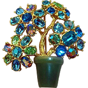 Stunning  Joan Rivers 3-D Flower  Brooch with Blue & Green Crystal Rhinestones