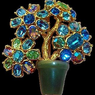 Stunning  Joan Rivers 3-D Flower  Brooch with Blue & Green Crystal Rhinestones