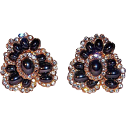 Elegant Joan Rivers Clip Earrings with Black Metallic Cabochons and Clear Crystal Rhinestones