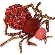 Retired Joan Rivers Dazzling Orange-Red Rhinestone 3-D Spider Brooch 1990s