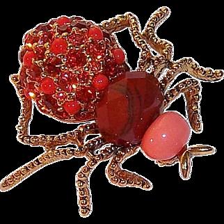 Retired Joan Rivers Dazzling Orange-Red Rhinestone 3-D Spider Brooch 1990s