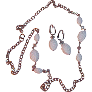 "Sarah Coventry ""Summer Flirt "" White Beaded Necklace & Earring Set 1974"