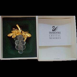 Swarovski Crystal Memories Grape Cluster Brooch Mint in Original Box 1990's