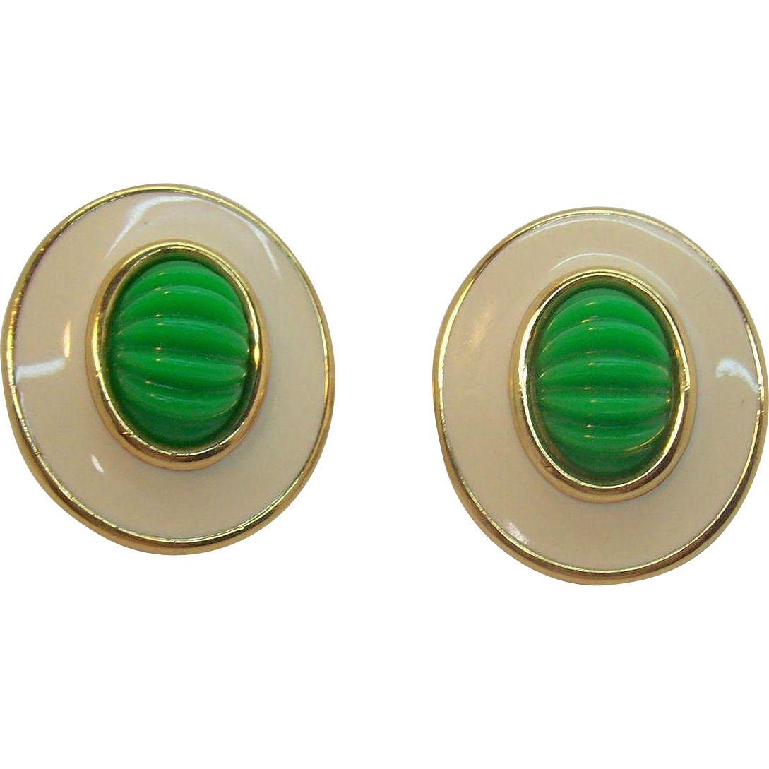 Huge Bold Monet Creme & Green Oval Shaped Clip on Earrings