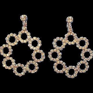 Huge Hattie Carnegie Silvertone Metal Clear Rhinestone Dangle Earrings