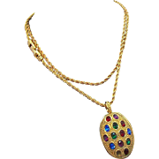 Swarovski  Multi Colored  Rhinestone Pendant & Chain necklace  1980's