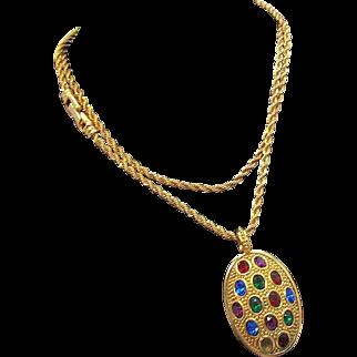Swarovski  Multi Colored  Rhinestone Pendant & Chain necklace  1980's