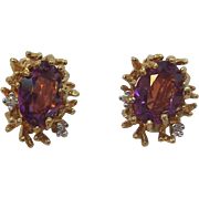 Panetta Rich Amethyst Colored Crystal Stones Goldtone Metal Clip on Earrings